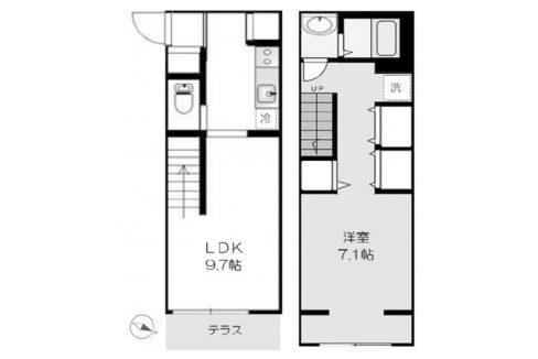 シャレー旗の台カワベ第15(ハタノダイ)の間取図