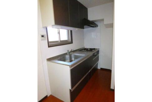 ホワイトマンションの3口ガスシステムキッチン