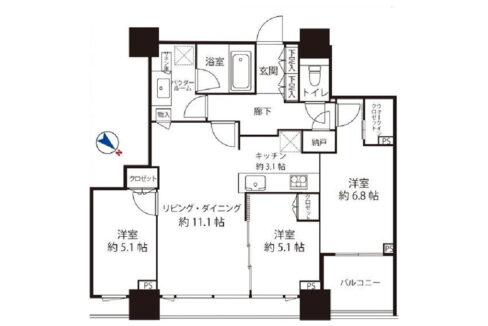 シティタワー武蔵小山(ムサシコヤマ)の間取図