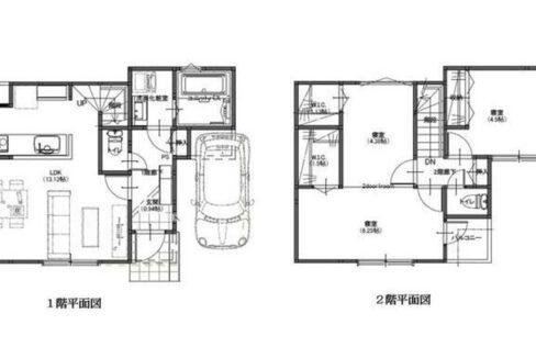 大田区中央5丁目新築戸建て(オオタク チュウオウ)の間取図