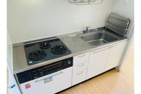 オークヴィラ B棟の3口ガスシステムキッチン